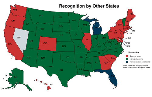 Illustration Of Concealed Carry Law By States