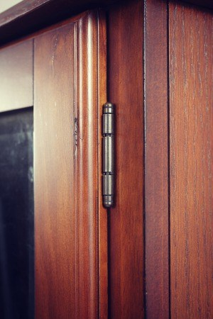 Door hinge of the American Furniture Classics cabinet.
