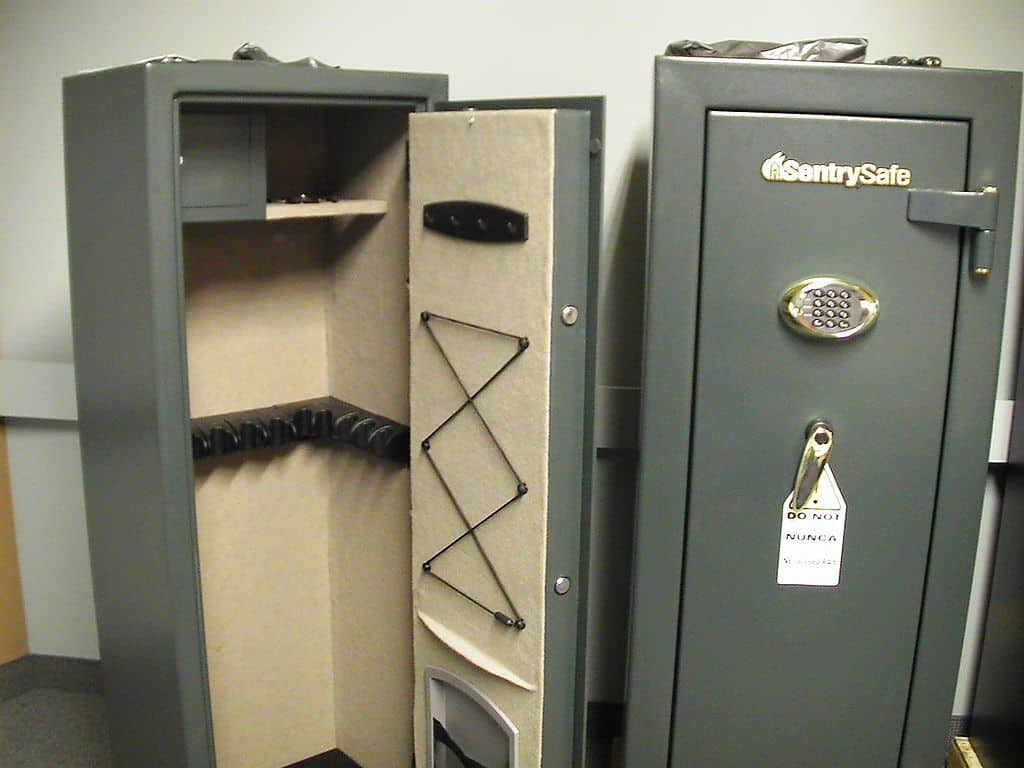 two gun safes gray for bolting down and securing firearm