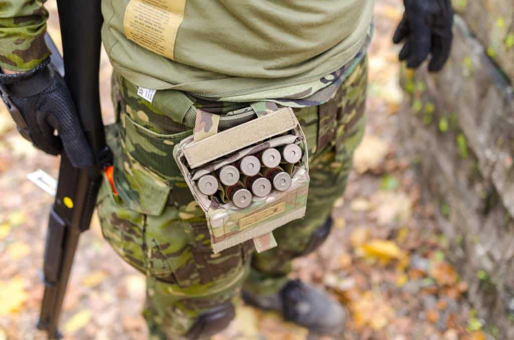 Soldier's pocket belt with ammos inside