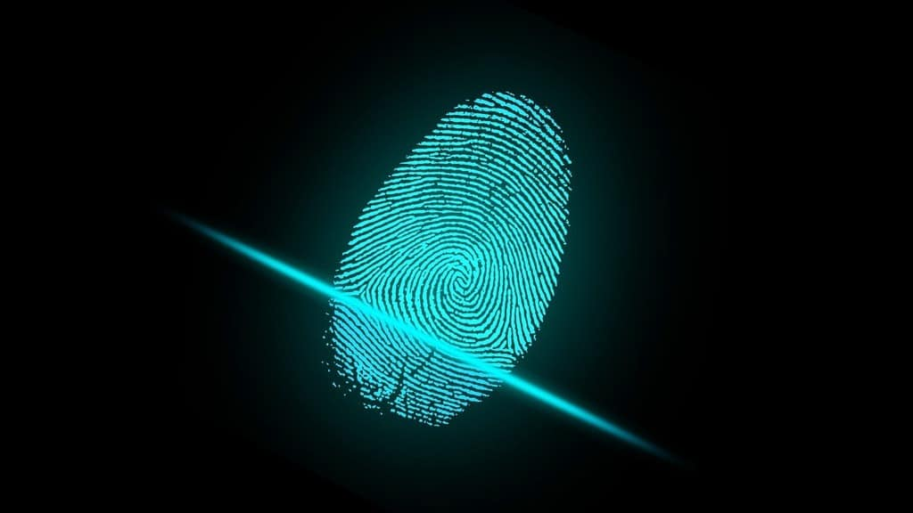 Fingerprint on a biometric scanner