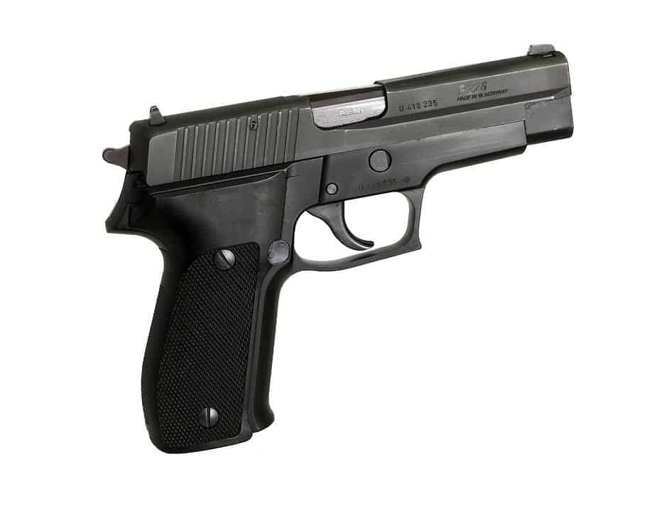 Side view of handgun
