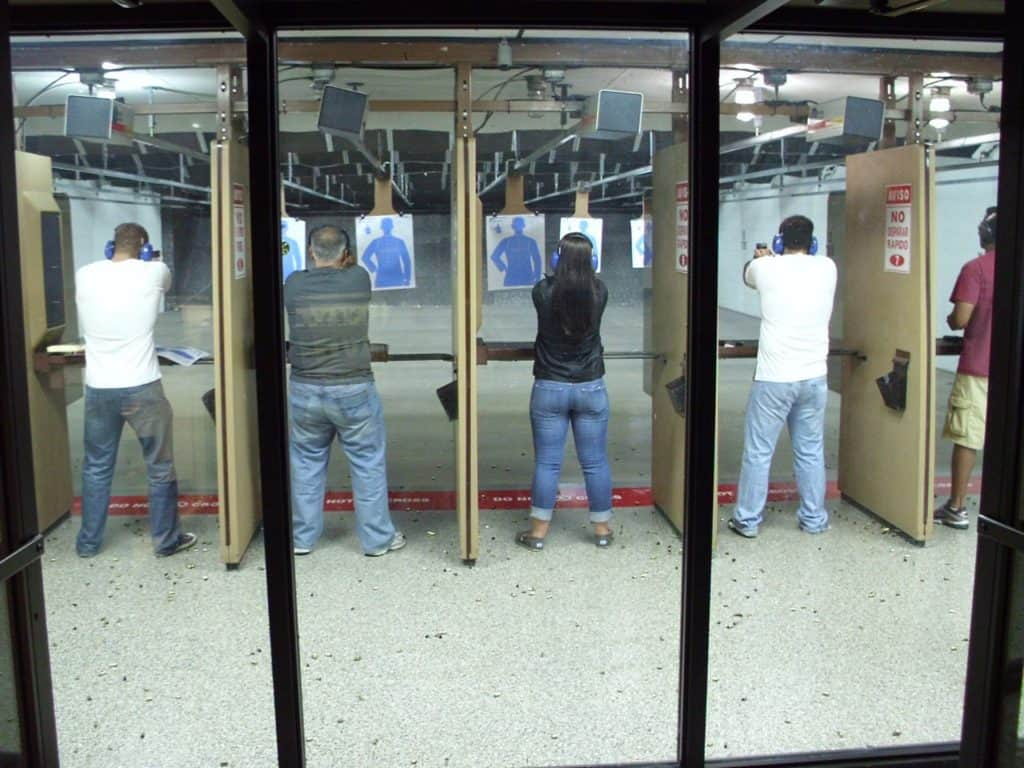Group of people in a gun range