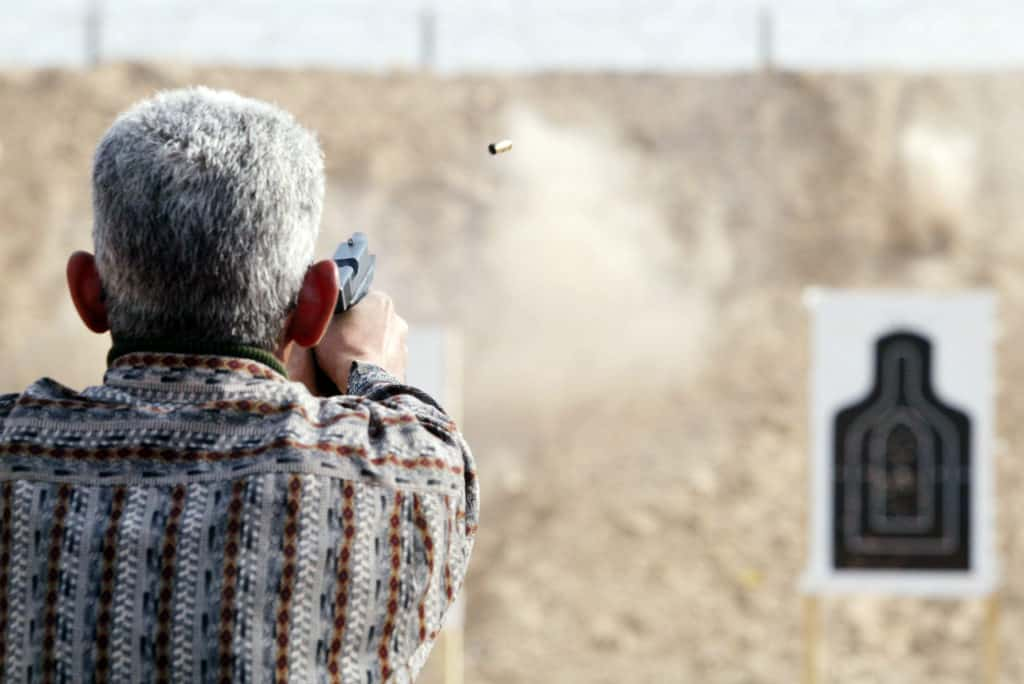 Man target shooting in one of the gun ranges in the United States