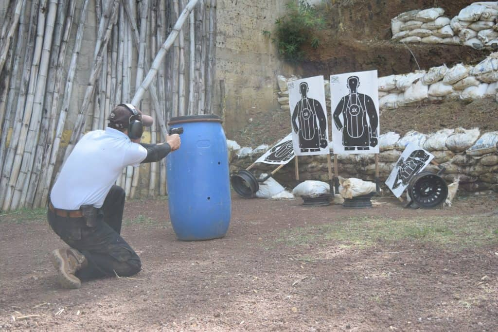 Man practicing his shooting at a gun range range in Indiana