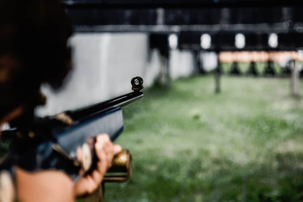 Person aiming a rifle at a target board