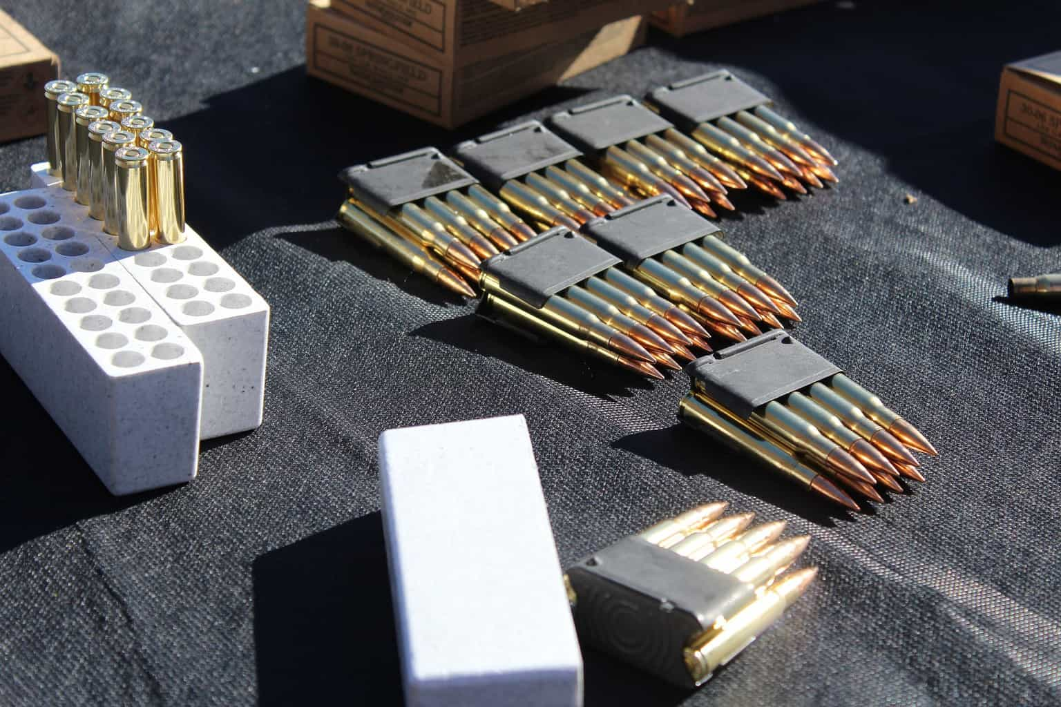 Stacks of new bullets placed in a table