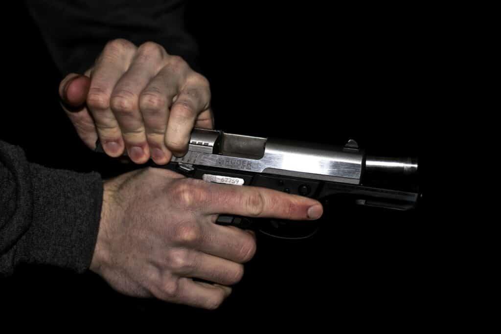 Person reloading a gun