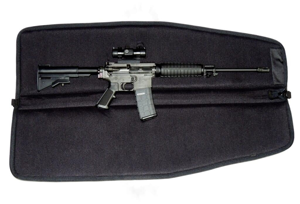 Gun case size containing an AR 15