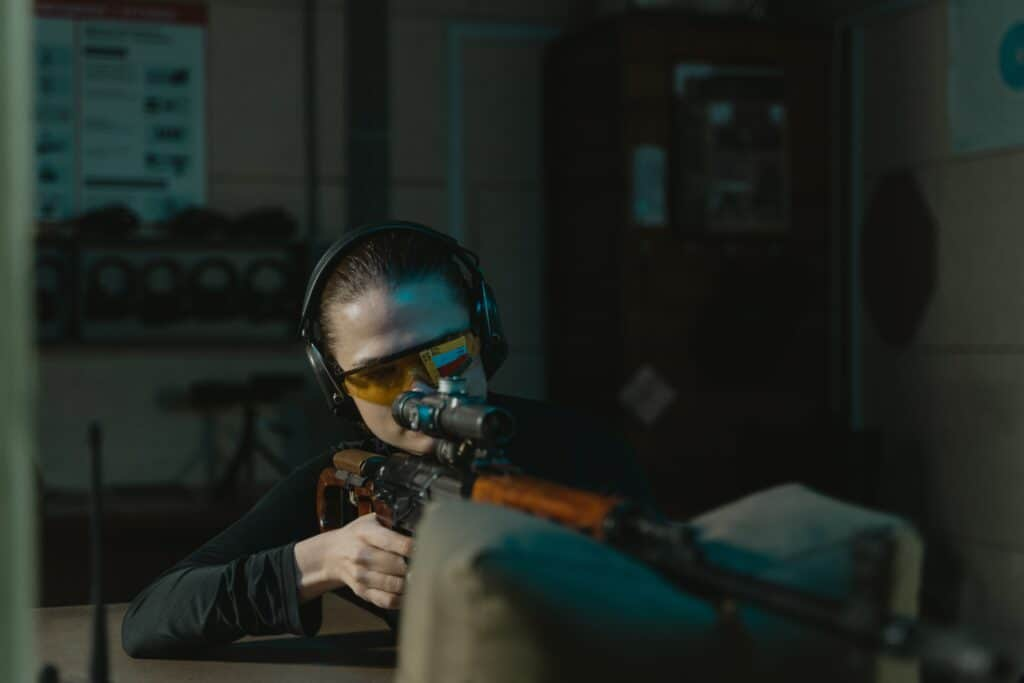 Woman in a gun range in Rhode Island