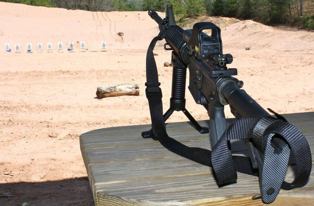 Rifle ready for firing at a shooting range in Charlotte
