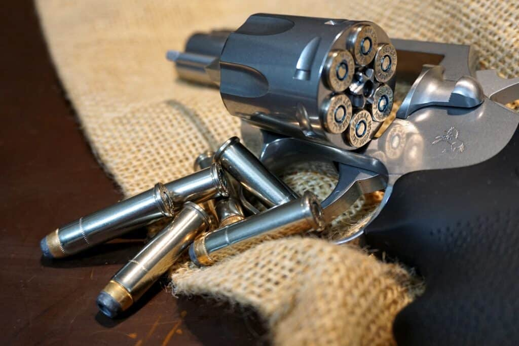 Pistol loaded with bullets