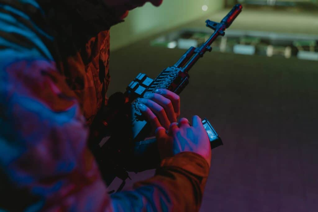 Man at a shooting range in Los Angeles