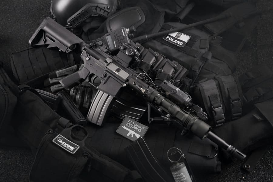 Stack of rifles on top of each other