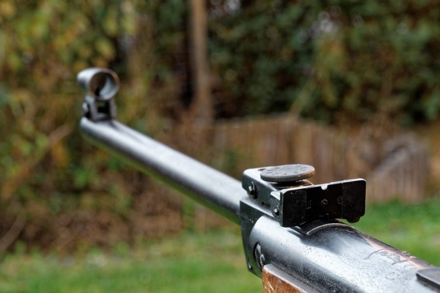 Close up of a rifle