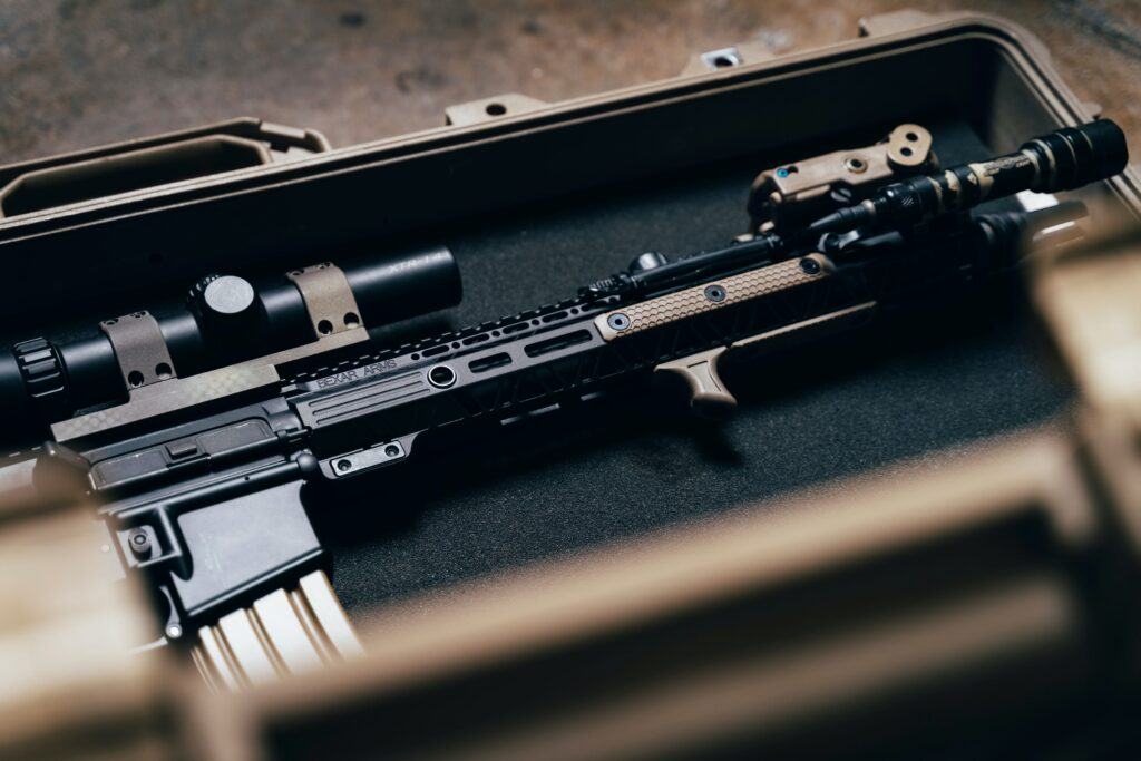 rifle with a scope inside a case