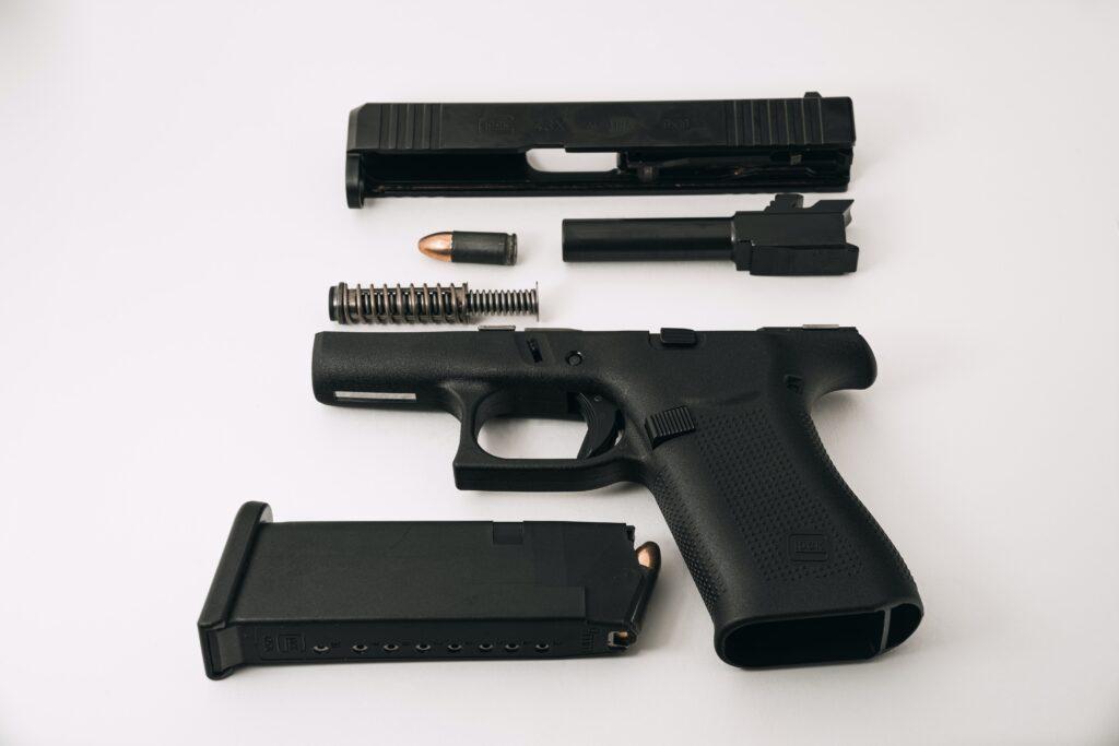 A disassembled handgun