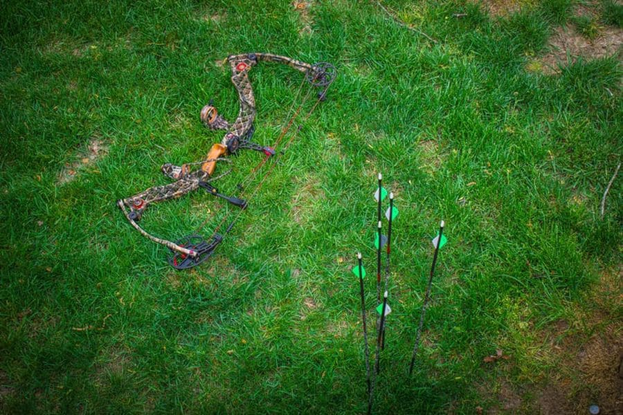 Mathews bow and arrows on the grass