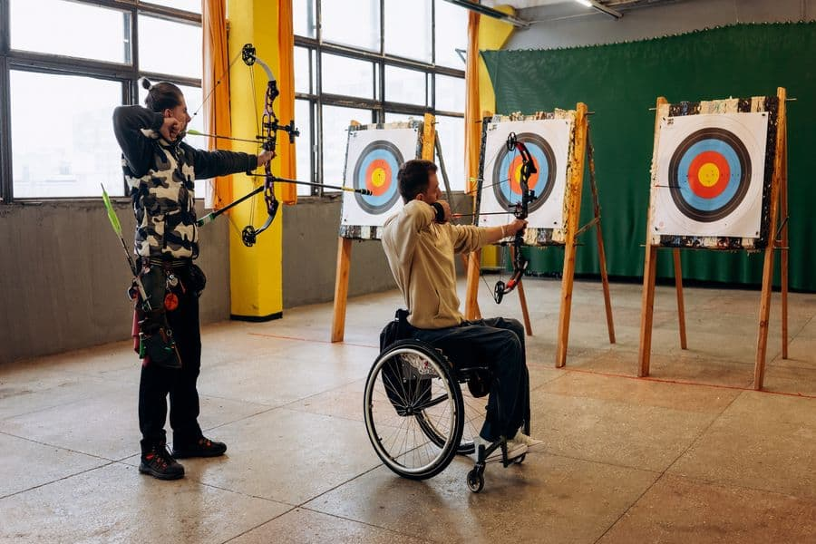 Players trying to hit the target for an archery match