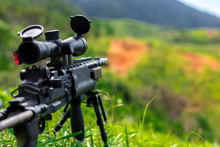 Rifle with a mounted scope